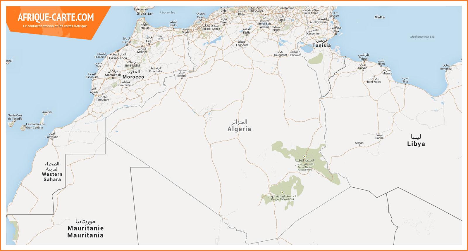 Carte Algerie Mauritanie.Algerie Afrique Carte